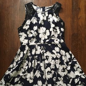 Navy blue and white floral dress